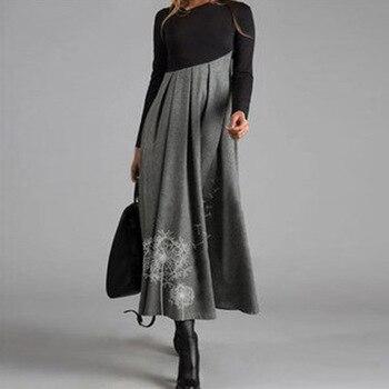 Elegant Women Vintage Long Dress V-Neck A-Line Dress Autumn Winter Long Sleeves Slim Party Dresses Ladies Casual Loose Vestidos