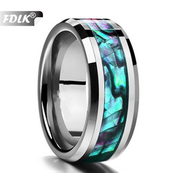 FDLK    Fine Jewelry 8MM Inlaid Abalone Shell Beveled Steel Stainless Steel Ring Wedding Jewelry US Size 6 7 8 9 10 11 12 13
