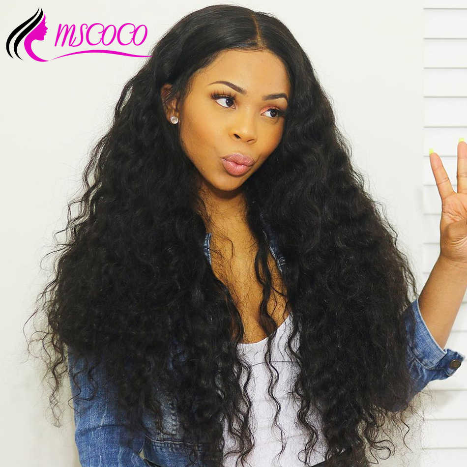 Mscoco Hair Water Wave Wig 6x6 Lace Closure Wig Remy Brazilian Lace Front Human Hair Wigs Pre Plucked With Baby Hair