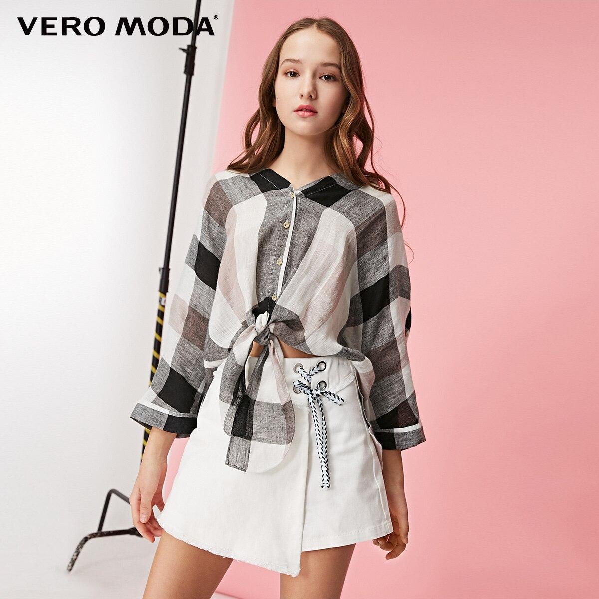 Vero Moda Women's Linen Plaid Lace-up Sleeves Shirt | 319131537