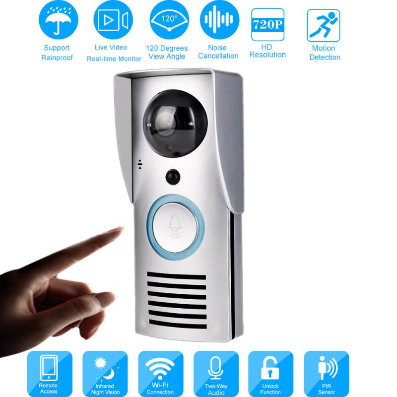 WIFI 720P Video Doorbell Wireless Door Phone Intercom Monitor Smart Bell HD Camera PIR Motion Sensor Night Vision Unlock