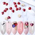 10 шт сердце Кристаллы Стразы для ногтей 6 мм Красочные 3D Ногти художественные камни блестящее стекло драгоценный камень День Святого Валент...