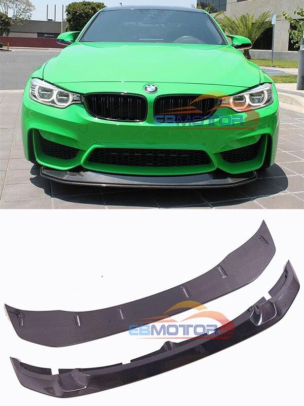 GTS gerçek karbon Fiber ön dudak Spoiler BMW için 1pair F80 F82 F83 M3 M4 B477