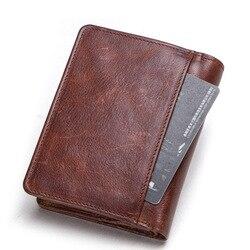 Радиочастотная Идентификация RFID кошелек короткий Мужской кошелек crazy horse кожа Многофункциональная Кожаная сумка с пряжкой