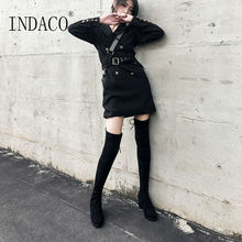 Over the Knee Boots Black Long Fashion High 2.5cm
