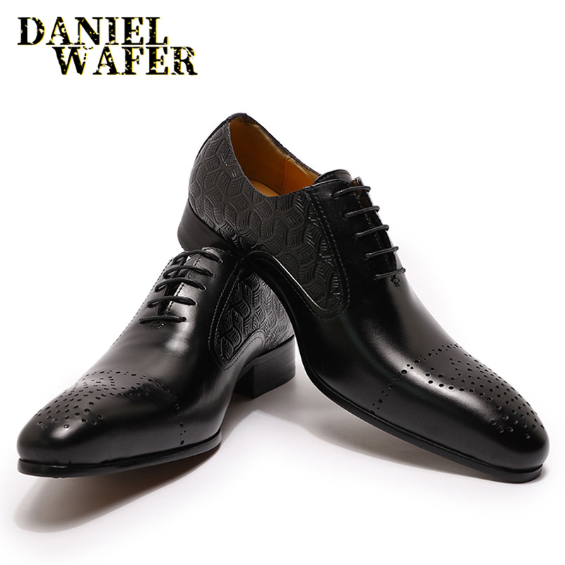 2020 Fashion Men Leather Shoes Oxfords Luxury Italian Dress Shoes Black Brown Lace Up Wedding Office Business Formal Men Shoes