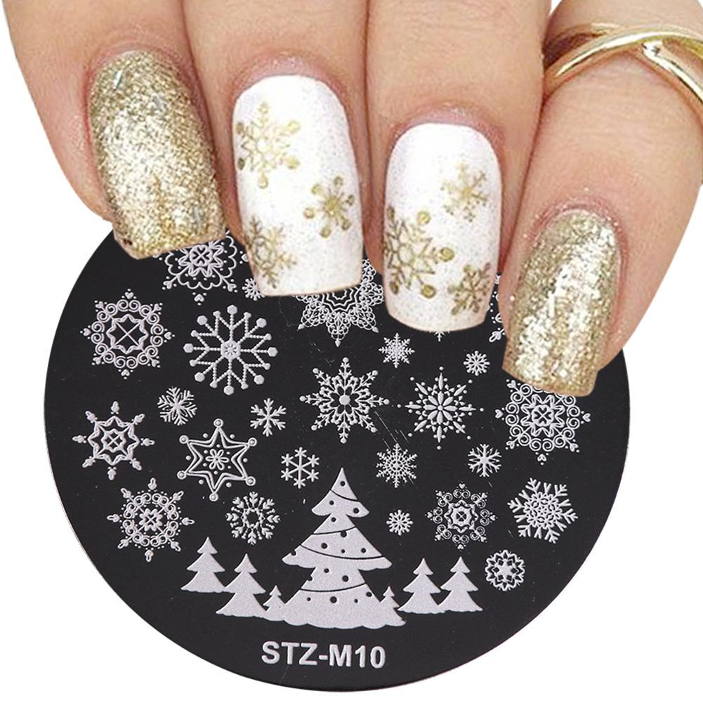 1Pc Christmas Snowflake Deer Shoes Nail Stamping Plate Stamp Image Template Stainless Steel Nail Art Decorations Nail Durable