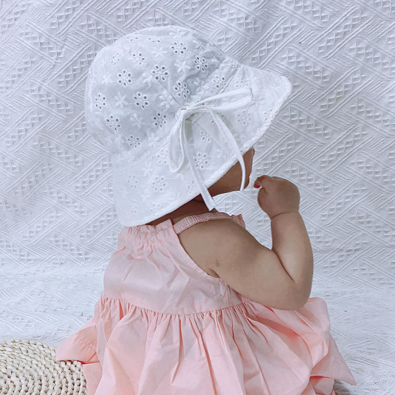 Baby Girls Cotton Bucket Hat Toddler Girls Lovely Bonnet Beanie Infant Caps Newborn Granny Hat Summer Sunhat Photo Props H194D