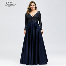 Fashion Plus Size Women Dress Sequined Deep V-Neck Full Sleeve Elegant Navy Blue Stain Maxi Party Vestidos De Festa 2019