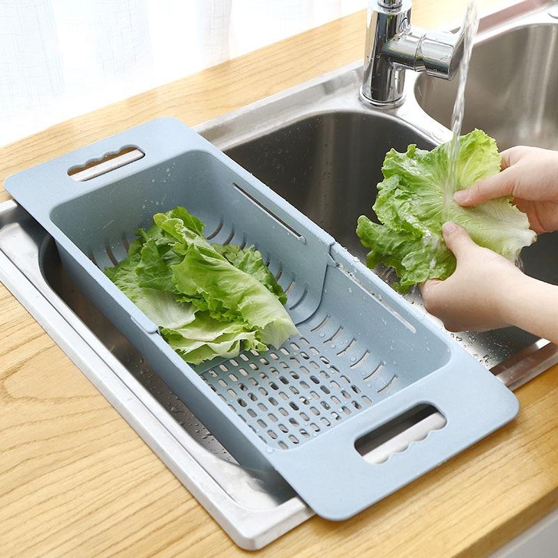 Adjustable Dish Drainer Sink Drain Basket Washing Vegetable Fruit Plastic Drying Rack Kitchen Accessories Organizer H1235 1