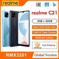 "realme C21 RMX3201 6.5"" Minidrop Fullscreen 3GB 32GB 13MP AI Triple Camera Helio G35 Octa Core 5000mAh Battery Mobile Phone 1"