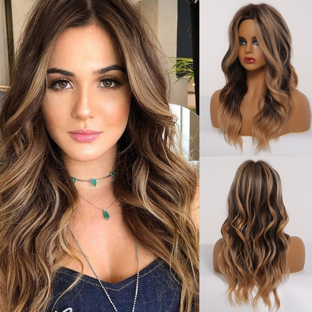 EASIHAIR Brown Ombre Wig with Highlights Synthetic Wigs for Black Women Medium Length Natural Hair Dark Wigs Heat Resistant Wigs