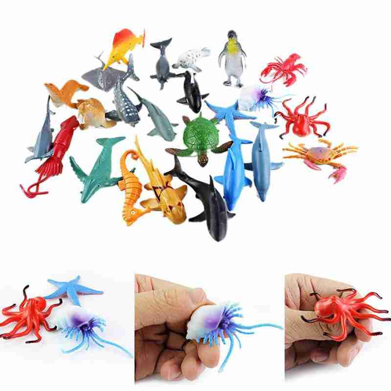24pcs Sea Animal Model Toy Simulation Mini Marine Animal Dolphin Crab Shark Turtle Ocean Hand-painted Toy Kids Educational Toys