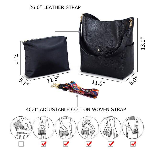 Gionar rfid genuíno bolsa de couro real designer bolsa para as mulheres balde tote macio camada superior crossbody ombro saco trabalho 3