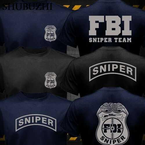 ผ้าฝ้ายแฟชั่น FBI Sniper ทีมเสื้อยืดคู่ด้านข้าง Tees แฟชั่นผู้ชายผ้าฝ้าย TShirt ใหม่สีดำเสื้อยืดสำหรับ Man
