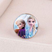 Disney Cartoon Frozen księżniczka elza pierścień dziecięcy śnieżka kopciuszek biżuteria akcesoria do makijażu prezenty dla dziewczynek zabawki dla dzieci