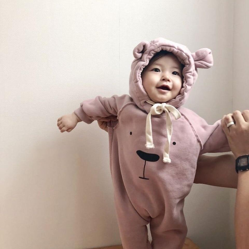MILANCEL autumn new baby romper infant girls hood suit early winter toddler boys bear hood