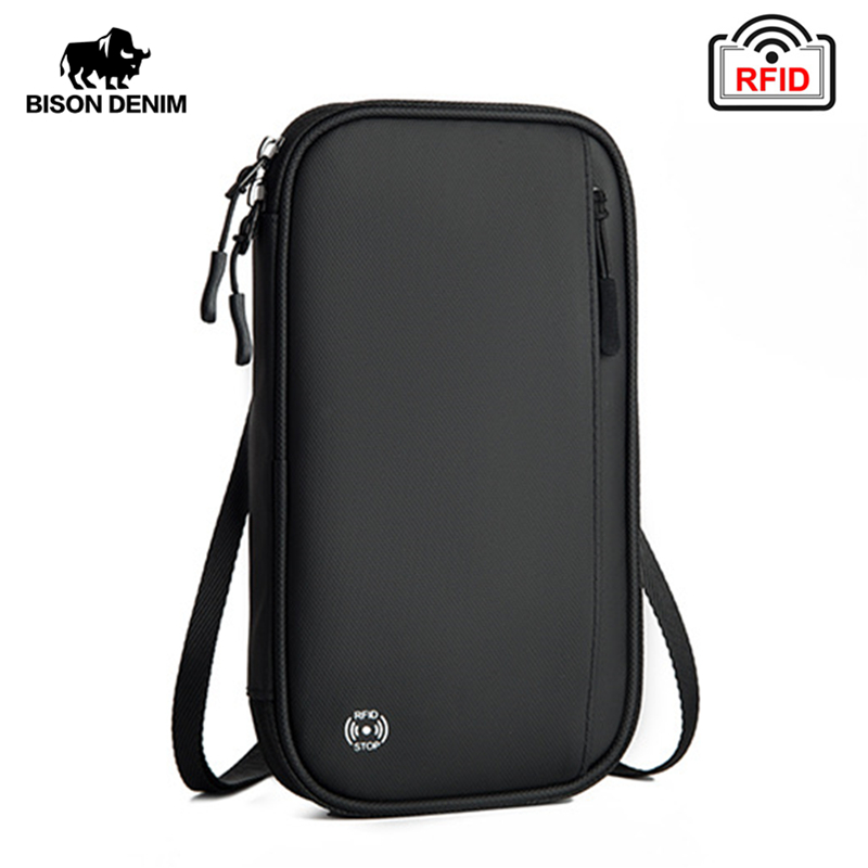 BISON DENIM Large Capacity Passport Wallet Travel Organizer RFID Blocking Card Holder Multifunctional Shoulder Bag H015