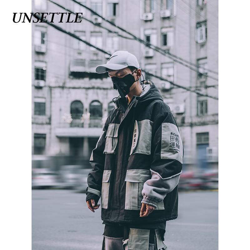 UNSETTLE 2019, японская Мужская зимняя парка, теплые куртки, много карманов, с капюшоном, высокое качество, парка, верхняя одежда, хип хоп Уличная одежда - 2