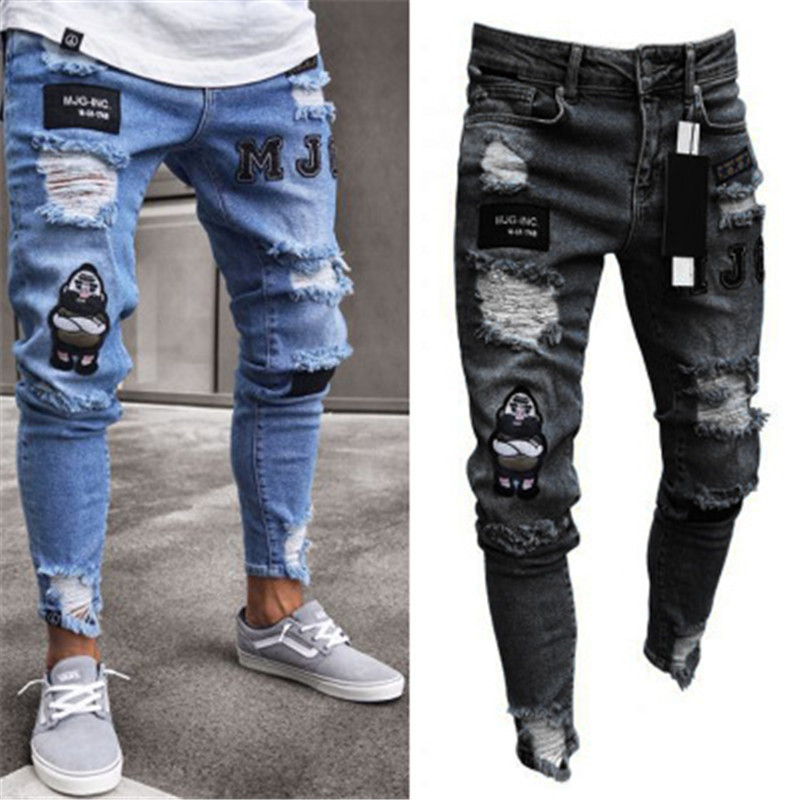 Europe And America Skinny Badge Jeans Men Trend Knee With Holes Zipper Skinny With Holes Hot Selling Cowboy Trousers