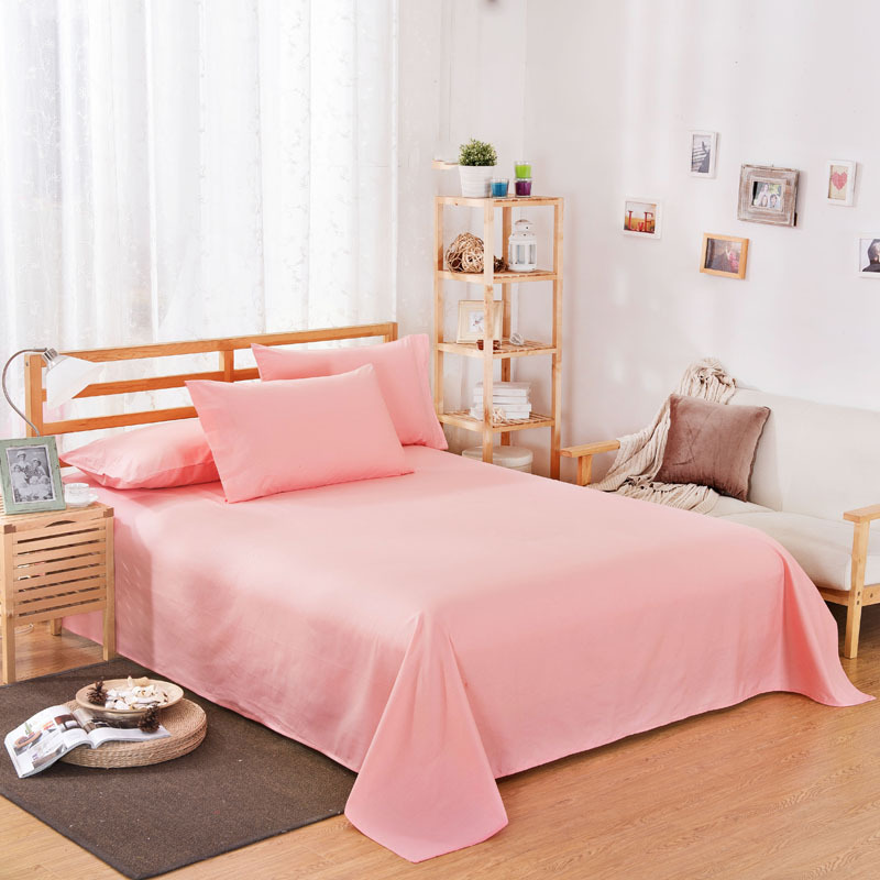 ropa de cama Solid color polyester cotton bed sheet hotel home soft brushed flat sheet queen bed cover not included pillowcase 10