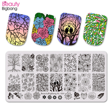 BeautyBigBang 6*12cm 1PC Stamping For Nails DIY Flower Leaf Pattern Nail Stamping Plates Template Nail Art Stencils XL-064 недорого