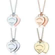 2020! Tif 925 ayar gümüş klasik çift kalp kolye kolye 45 cm sağlayan zarif aşk takı hediye için büyüleyici