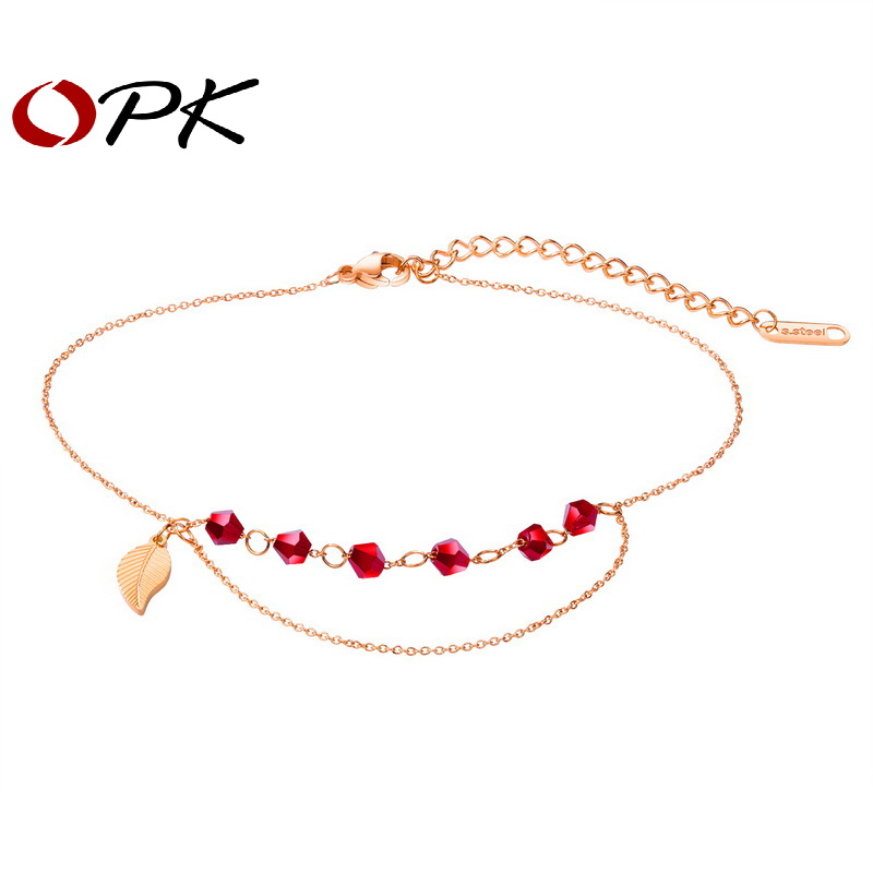 Brand Sexy Anklet For Women Rose Gold Leaf Red Beads Beach Feet jewelry Charm Anklets Bracelet Party Gift Perimeter 240+40mm