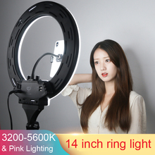 Photo Studio New 14 inch LED Ring Light 35cm 3200-5600K add Pink Lighting Selfie Light for youtube Video with Cell Phone Holder supon l122t 3 sets led video light studio light photographic lighting with tripod 3200k 5600k panel lamps for photo youtube