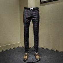Мужские брюки тонкий стиль Модные серые клетчатые мужские повседневные уличные мужские брюки осень весна Деловая одежда для мужчин 30 36 брюки