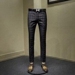 Мужские брюки тонкий стиль Модные серые клетчатые мужские повседневные уличные мужские брюки осень весна Деловая одежда для мужчин 30 36 брю...