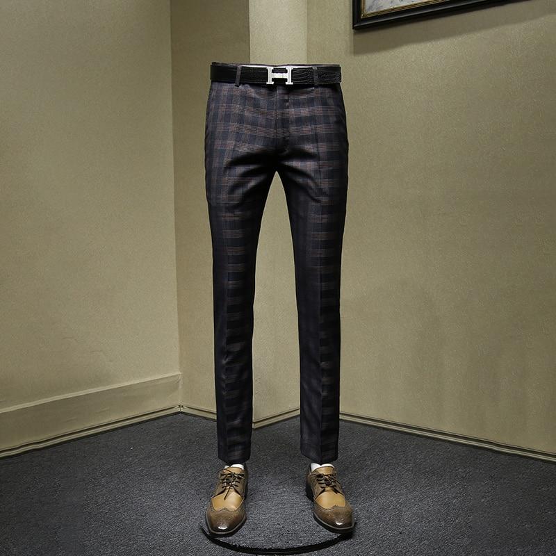 men pants slim style fashion grey plaid man casual streetwear mens pants autumn spring business mans clothing 30 36 trousers