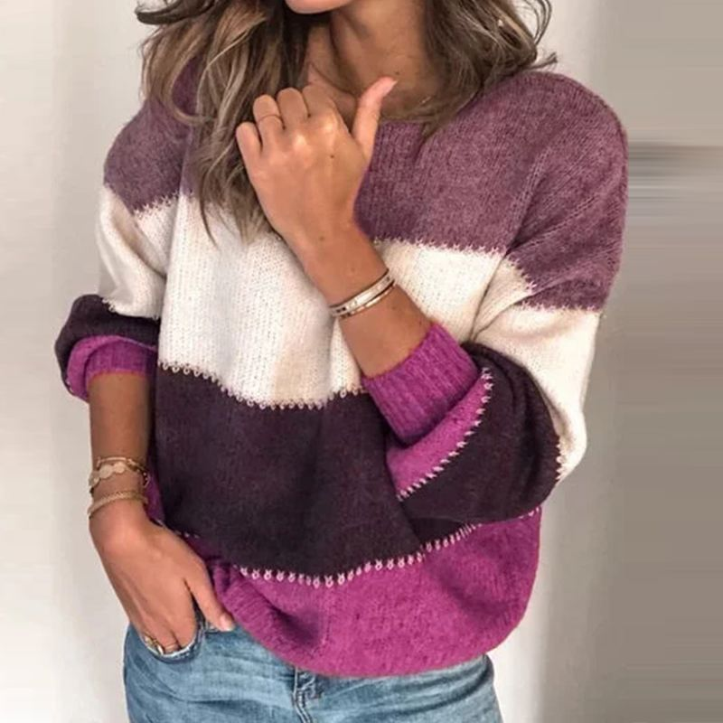 Plus Size Tunic Women's Stiching Blouse Fashion Sweater 2019 ZANZEA Elegant Long Sleeve Pullovers Female O-neck Knitted Top 5XL