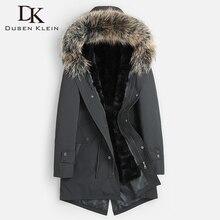 DK новая енотовидная собака меховой воротник подкладка настоящий натуральный мех енота одежда средней длины мужские зимние меховые куртки