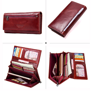 Image 5 - Contacts Genuine Leather Women Long Purse Female Clutches Money Wallets Brand Design Handbag for Cell Phone Card Holder Wallet