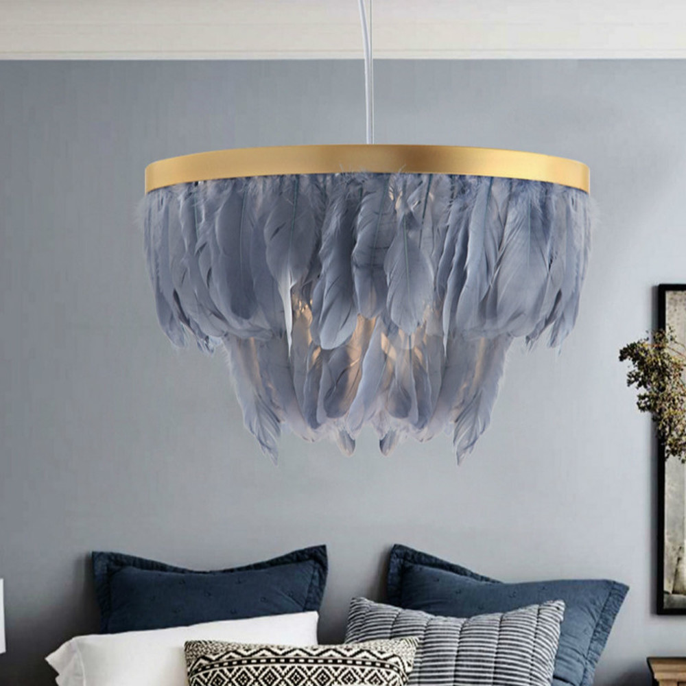 Nordic Feather Light Ins Style Post-modern Warm Feather Chandelier Creative Wedding Room Bedroom Living Room Lights Hanging