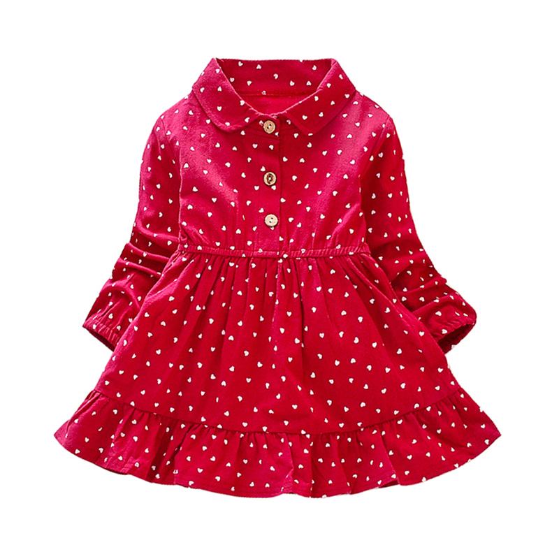 2019 Girls Clothes Autumn New Children Clohting Dot Print Fashion Kids Princess Dress Baby