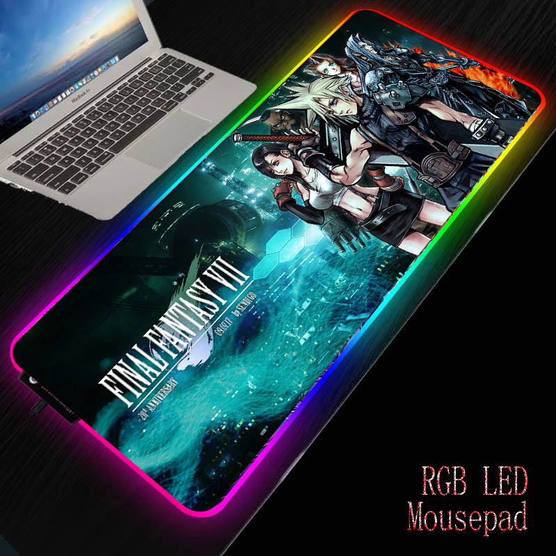 MRGBEST Final Fantasy Gaming RGB Mouse Pad Gamer Computer Mousepad Backlit Mause Pad Large Mousepad for Desk Keyboard LED Mat