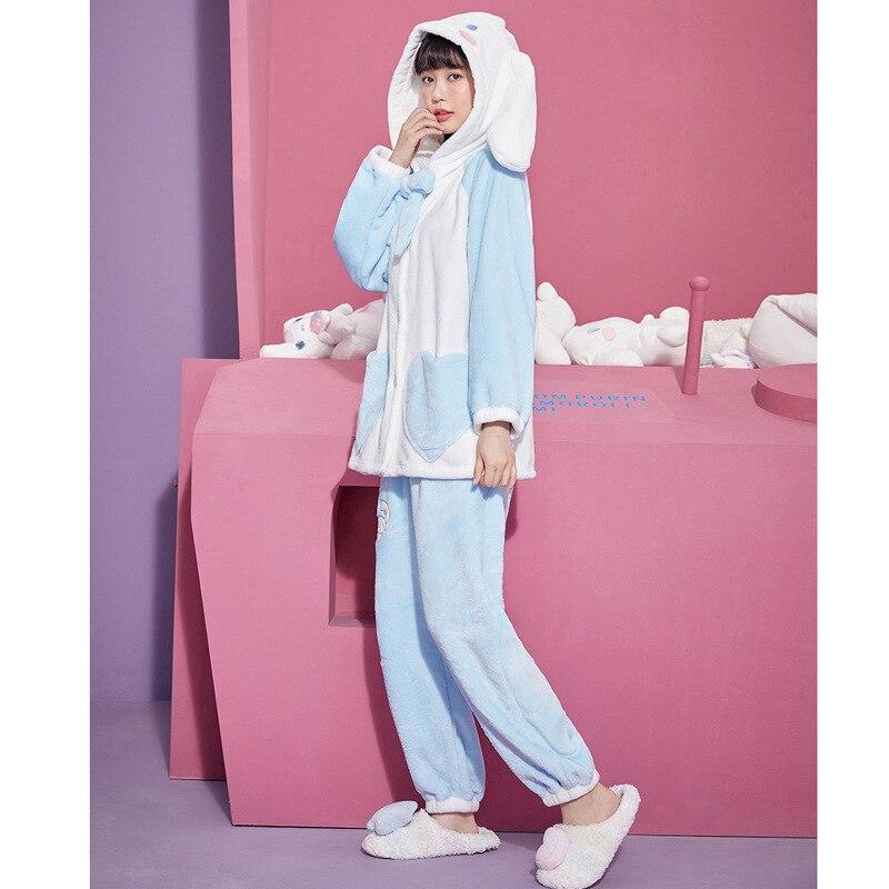 เสื้อคลุมกระต่ายน่ารัก ชุดนอนสำหรับสาวๆ เสื้อกันหนาวน่ารัก ใส่สบายๆ ผ้ากำมะหยี่ เสื้อคลุมชุดนอนผู้หญิง cute