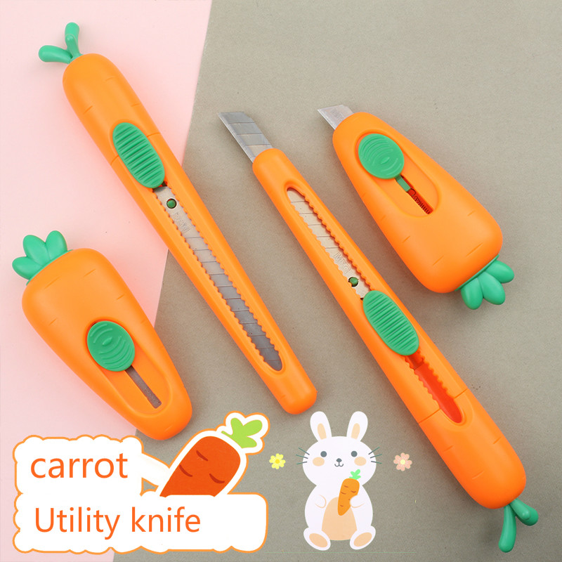 1Pcs Mini Cutter Cartoon Carrot Utility Knives Auto-Retractable Letter Opener