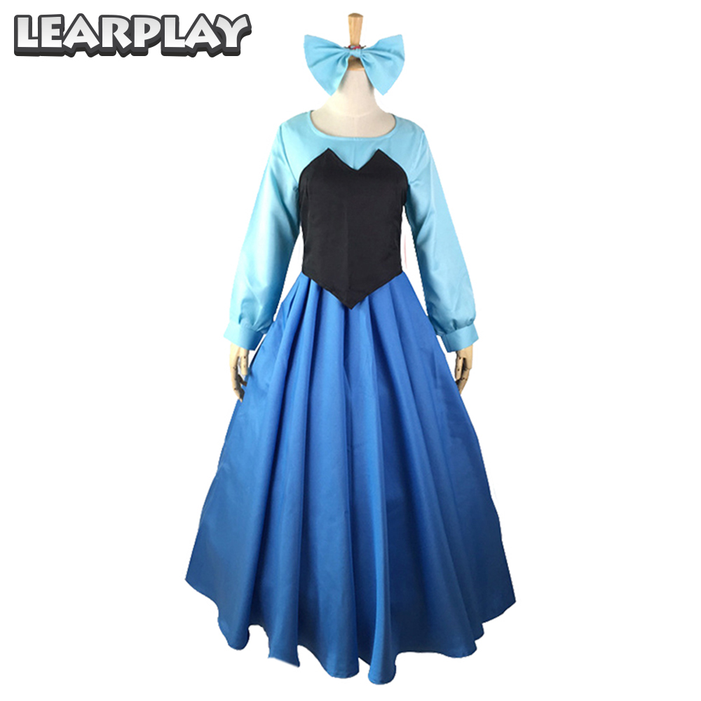Free Shipping The Little Mermaid Cosplay Ariel Costume For Adults Women Blue Princess Dress Carnival Party Sexy Fancy Dance Robe