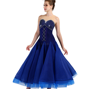 Image 2 - CACARE 社交ダンス競技ドレスワルツ標準ダンスドレス D0955 高級ラインストーンメッシュバックふわふわ裾