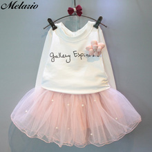 Melario Cute Mesh Girls Dresses Autumn Party Kids clothing With flowers Children Clothes Letter Baby Girl Princess Dress Outfits