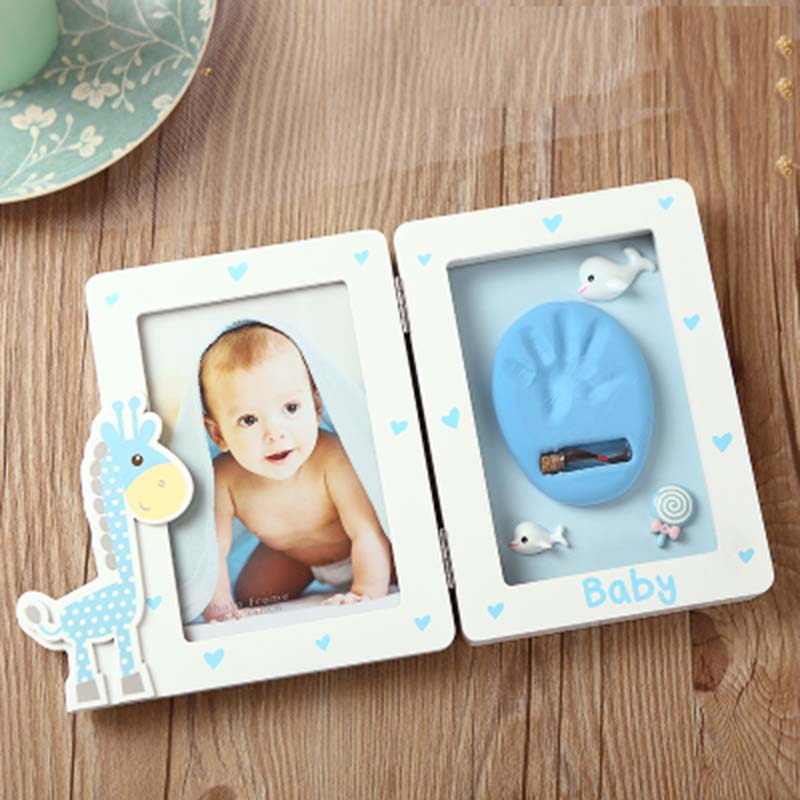 Cartoon Giraffe Baby Hand And Footprint Photo Frame Baby Items Gadgets Clay Paw Print Child Hand Cast Kit Memories Keepsake