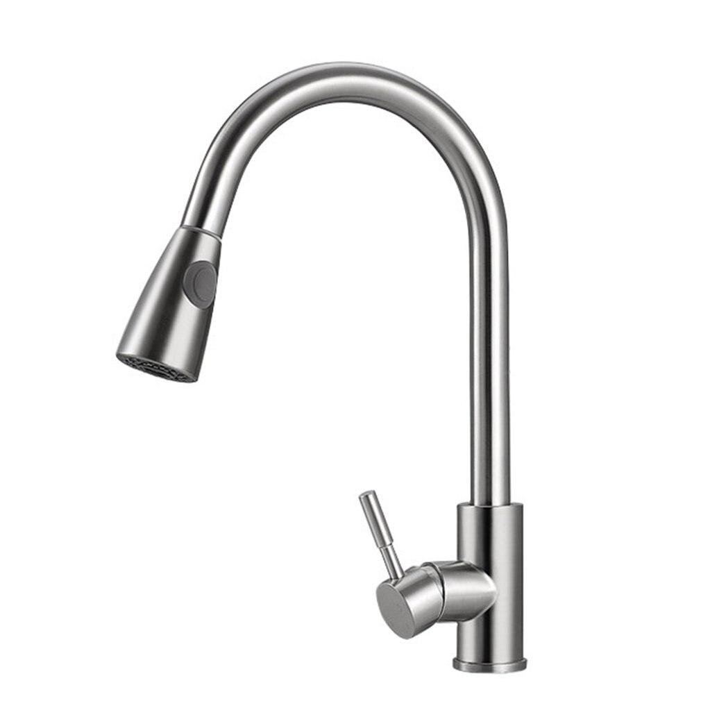 ก๊อกน้ำห้องครัวดึงออกเย็นและร้อนก๊อกน้ำ 304 สแตนเลสสตีล Mixer TAP หมุน 360 องศา 2 ประเภทเงิน