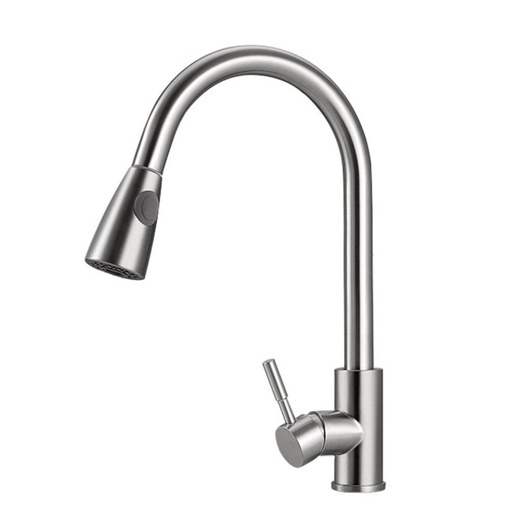 Kitchen Faucet Pull Out Cold And Hot Sink Faucet 304 Stainless Steel Water Mixer Tap Swivel 360 Degree Two Types Silver