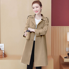 autumn 2019 new fashion women double breasted mid-long khaki trench coat slim casual outerwear lady fashion high quality new arrival autumn trench coat women loose clothing outerwear high quality double breasted women hooded long coat