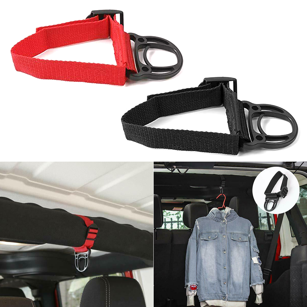 Roll Bar Coat Hook Clothes Hanger For Jeep Wrangler JK JL Unlimited 2007 2018 Ultra stable Auto Red/black Coat Hook|Car Coat Hanger| |  - title=