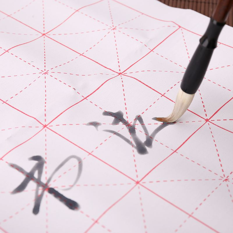 2021 New 3pcs/set Reusable Magic Water Writing Cloth Brush Gridded Fabric Mat Chinese Calligraphy Practice Practicing No Ink