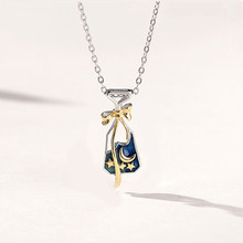 925 Sterling Silver Starry sky Wishing Bottle Necklace Sweet Cute Star Moon Clavicle Chain Fine Jewelry for Women Party Gift